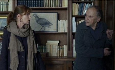 Isabelle Huppert as Eva and Jean-Lois Trintignant as Georges share a tense moment in Amour (2012)