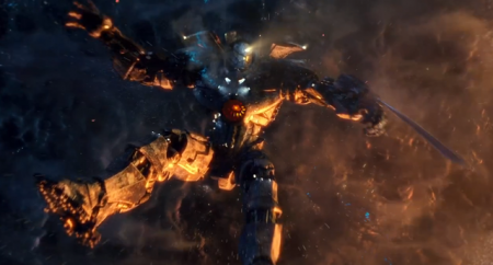A robot falls down to earth in Pacific Rim (2013)