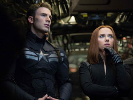 Captain America (Chris Evans) and Black Widow (Scarlett Johansson) are back in Captain America: The Winter Soldier (2014)