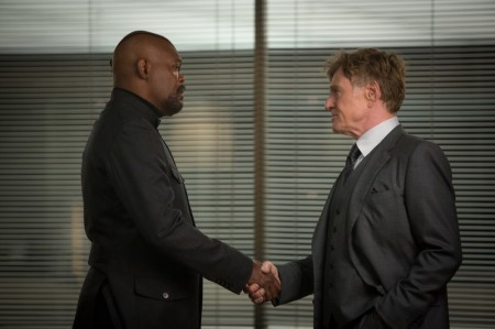 Nick Fury (Samuel L. Jackosn) and Alexander pierce (Robert Redford) are old friends and potential enemies in Captain America: The Winter Soldier (2014)