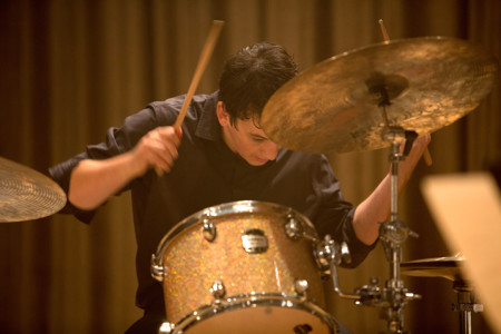Andrew (Miles Teller) unleashes a tour de force drum solo in Whiplash