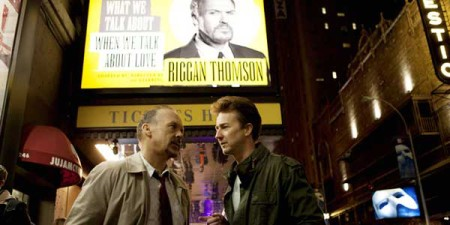 Riggan Thomson (Michael Keaton) and Mike Shriner (Edward Norton) argue about art and acting in Birdman