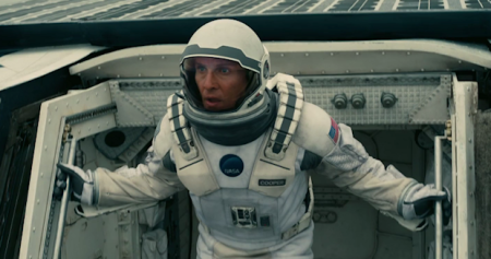 Cooper (Mathew McConaughey) pilots a space mission to find habitable planets in Interstellar